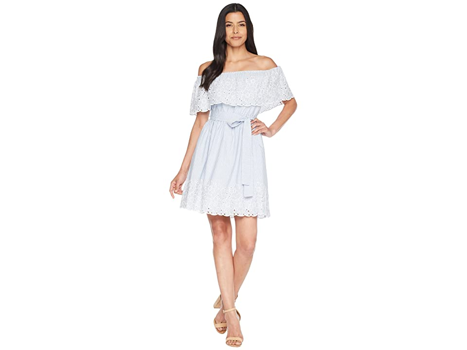 CeCe Off the Shoulder Dress w/ Embroidered Edge (Bluebird) Women