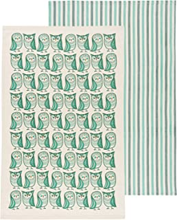 Now Designs Kitchen Dishtowels, Set of Two, Hootenanny and Green Stripes