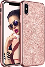 BENTOBEN Phone Case for Apple iPhone XS (2018) iPhone X/10 Slim Protective Shockproof Stylish Phone Case Luxury Glitter Sparkle Bling Pretty Phone Cases Shiny Girly Phone Cover with Lanyard, Rose Gold