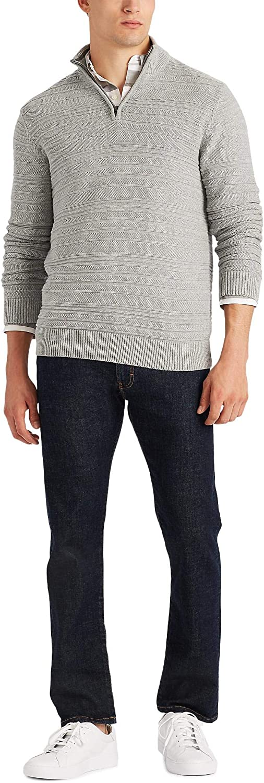 現品 Chaps Men's Classic Fit Sweater Textured Zip Quarter 期間限定送料無料