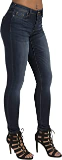 Tall Women's Curvy Fit Blue Medium Whiskering Blasted Skinny Jeans