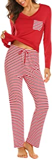 Image of Long Sleeve Red Striped Women's Christmas Pajamas