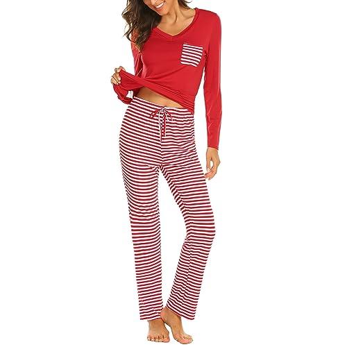 1cbe02a7e557 Hotouch Womens Pajama Set Striped Short Sleeve Top   Pants Sleepwear Pjs  Sets