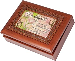 Granddaughter Special Gift Wood Finish Ornate Jewelry Music Box Plays Tune Ave Maria