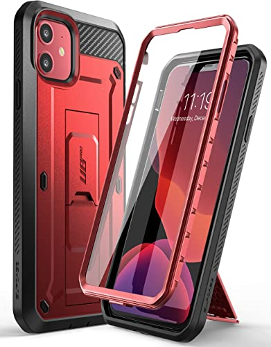 wholesale SUPCASE Unicorn Beetle Pro Series Case Designed for iPhone 11 6.1 Inch (2019 Release), 2021 Built-in sale Screen Protector Full-Body Rugged Holster Case (MetallicRed) online sale