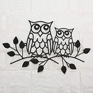 Metal Owl Decor On Branch Wall Sculpture Art, Rustic,13.8 x 8.7 x 0.4 inches