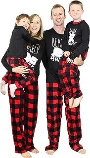 Holiday Matching Family Pajama Set Wide Or Bearly Awake Bear Plaid Pant (Womens Bearly Awake, X-Large)