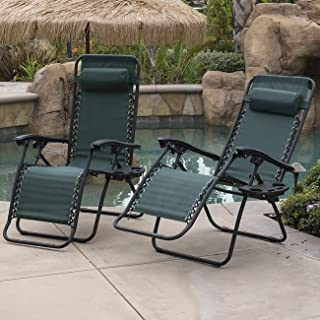 Belleze Set of (2pcs) Zero Gravity Chairs Foldable Patio Lounge Chair Outdoor Beach Yard Comfort Seat Recliner w/Tray (Green)