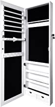 Sodynee Organizer JB-W Over Over Door Jewelry Armoire with Mirror, White, Large,