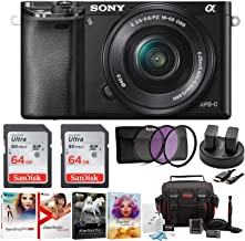 Sony Alpha a6000 Mirrorless Camera with 16-50mm Lens and Two 64GB SD Card Bundle (8 Items)