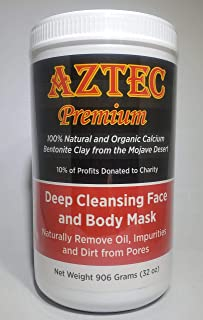 AZTEC PREMIUM | Indian Healing Clay 2 lb | Deep Pore Cleansing Face & Body Mask Powder | STERILIZED Without Radiation, Chemicals or Preservatives | 100% Natural & Organic Calcium Bentonite Clay