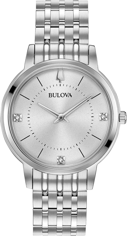 Bulova Reloj analógico para Mujeres de Cuarzo con Correa en Acero Inoxidable 96P183