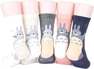VIVID COLOR, Totoro L Women's Socks 5 pairs( 5 color) = 1 pack Made in Korea