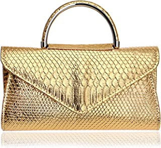 Clutch Handbag Fashion Women's Pocket Snake Shoulder Bag Pu Crossbody Bag Gold Wallet Cosmetic Bag (26×5×14cm)
