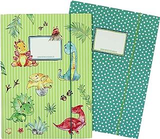 2 wysokiej jakości teczki szkolne dla dzieci DIN A4 | motyw Dino - teczka pocztowa dla uczniów szkoły podstawowej - zbiera...