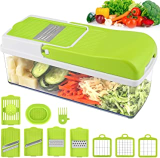 Vegetable Chopper Slicer, Food Chopper MOICO Onion Dicer Veggie Slicer Cutter With Multi-Functional Interchangeable Blades Cheese Grater For Garlic Carrot Potato Tomato Fruit Salad