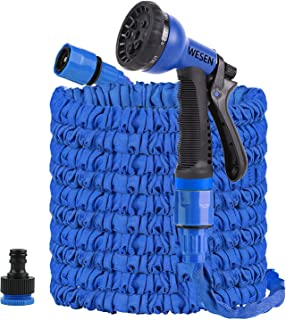 """WESEN 100FT Expandable Garden Water Hose Pipe with 8 Function Spray Nozzle 3/4"""",1/2"""" Hose Fittings Connector Expanding Hos..."""