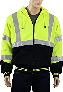 Safety Depot Class 3 Heavy Duty Refletive Two Tone Hooded Soft Sweatshirt with Handwarmer pockets and Zipper Closure SS25 (Extra Large, Lime)