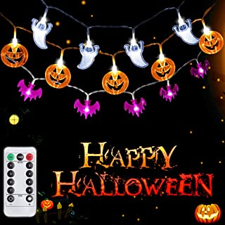 SYIHLON Set of 3 Halloween Decorations Lights with Remote Control,8 Modes 90 LEDs IP65 Waterproof Battery Operated Orange Pumpkin Bat Ghost Lights for Bar Outdoor Indoor Halloween Decor