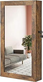 SONGMICS Smyckeskåp, spegelskåp, väggskåp, låsbart väggskåp, platsbesparande smyckesarrangör, vintagebrun JJC051K01