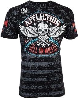 Affliction Men T-Shirt Heroic American Customs USA Flag Motorcycle Biker