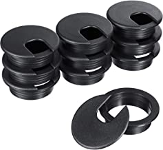 SATINIOR 10 Packs Black Desk Cable Wire Grommet Cord, PC Computer Desk Plastic Grommet Cord, Tidy Cable Hole Cover Organizers (50 mm/ 2 Inch Mounting Hole Diameter)