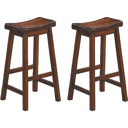 Homelegance Saddleback 29 Inch Height Barstool Cherry Set Of 2 Kitchen Dining Room Furniture