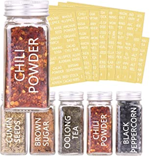 SWOMMOLY 317 Preprinted Spice Labels Set, White Letters on Clear Stickers. Water Resistant Transparent Labels for Spice Ja...