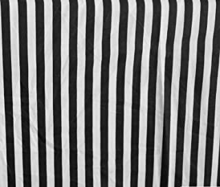 Stripes Small Black White Poly Cotton 58 Inch Fabric By the Yard (F.E.)