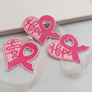 """3""""x2.6"""" 12pcs Breast Cancer Awareness Pink Ribbon Heart Hope Iron On Sew On Cloth Embroidered Patches Appliques Machine Embroidery Sewing DIY …"""