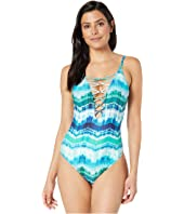 Global Tie-Dye Lace-Up High Neck Mio One-Piece Swimsuit