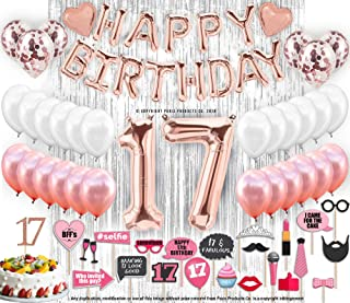 17th Birthday Decorations with Photo Props   17 Birthday Party Supplies   17 Cake Topper Rose Gold Banner   Rose Gold Confetti Balloons Gift  Seventeen 17th Bday  Biggest Set on Amazon - 127 Piece 17