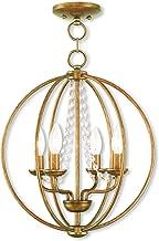 Livex Lighting 40914-48 Arabella 4 Light AGL Mini Chandelier/Flush Mount, Antique Gold Leaf