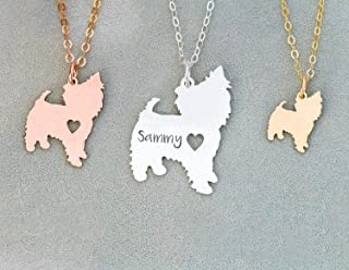 Yorkie Dog Necklace - IBD - Yorkshie Terrier - Personalize Name Date - Pendant Size Options - Sterling Silver 14K Rose Gold Filled Charm
