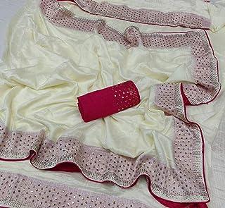 Womens New Latest New Sana Silk Orange Saree with Contrast Blouse (SW-841 Orange, Orange)