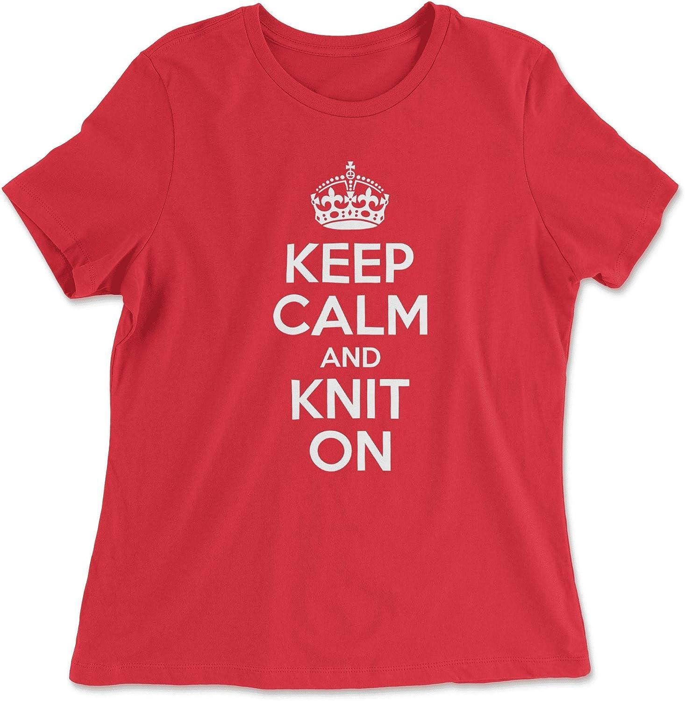 HARD EDGE DESIGN Women's Keep Calm and Knit On T-Shirt