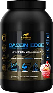 LionEdge Nutrition - Casein Edge 100% Premium Micellar Casein Protein Powder | Strawberry Shortcake Ice Cream | 30 Servings | Keto Friendly | Build & Repair Muscle | Curb Appetite & Sugar Cravings