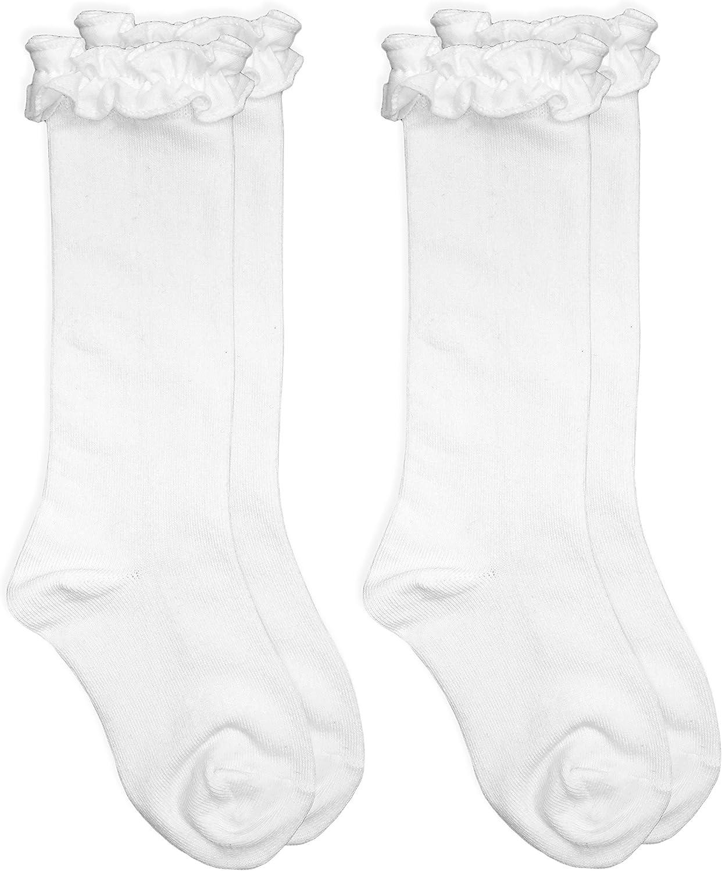 Jefferies Socks Girls Ruffle Cotton School Uniform Dress Knee High Socks 2 Pair Pack