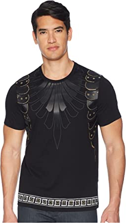 Versace Collection Beaded/Leather Applique Armour Detail T-Shirt