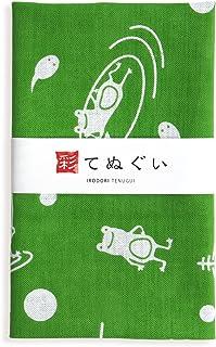 彩(irodori) 小紋手ぬぐい カエル(緑) ほつれ防止加工なし 32×90cm TE-06118-IR