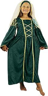 927760ae6d7 Fille Tudor Costume de princesse Déguisement Vert passé fois Reine médiéval  pour enfant Princesse Renaissance School