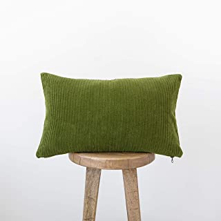 Woven Nook Decorative Corduroy Lumbar Throw Pillow Cover ONLY for Couch, Sofa, or Bed 12x20'' Soft Lush Modern Quality Design in Corduroy Lumbar (Olive Green)