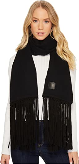 UGG - Solid Woven Scarf with Leather Fringe