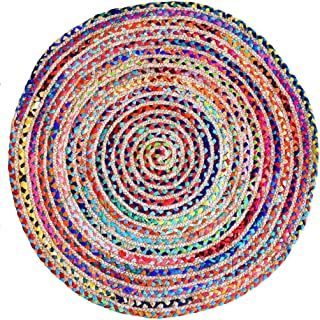 Fernish Décor Round Rag Area Rug, Jute & Cotton Multi Chindi Braid Rug, Hand Woven & Reversible- Handwoven from Multi-Color Vibrant Fabric Rags Bohemian Colorful Rug (6 feet)