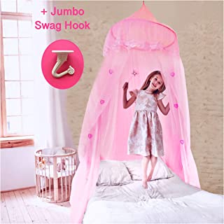 EVEN NATURALS Princess Canopy for Girls Bed, Pink Bed Canopy with Lace Dome (Easy Hanging System), Mosquito Netting for Baby Crib, Toddler Bed & Twin Size Girl Beds, Kids Play Tent for Reading Corner