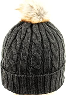 ANGELA & WILLIAM Women's Thick Cable Knit Beanie Hat with Soft Faux Fur Pom Pom