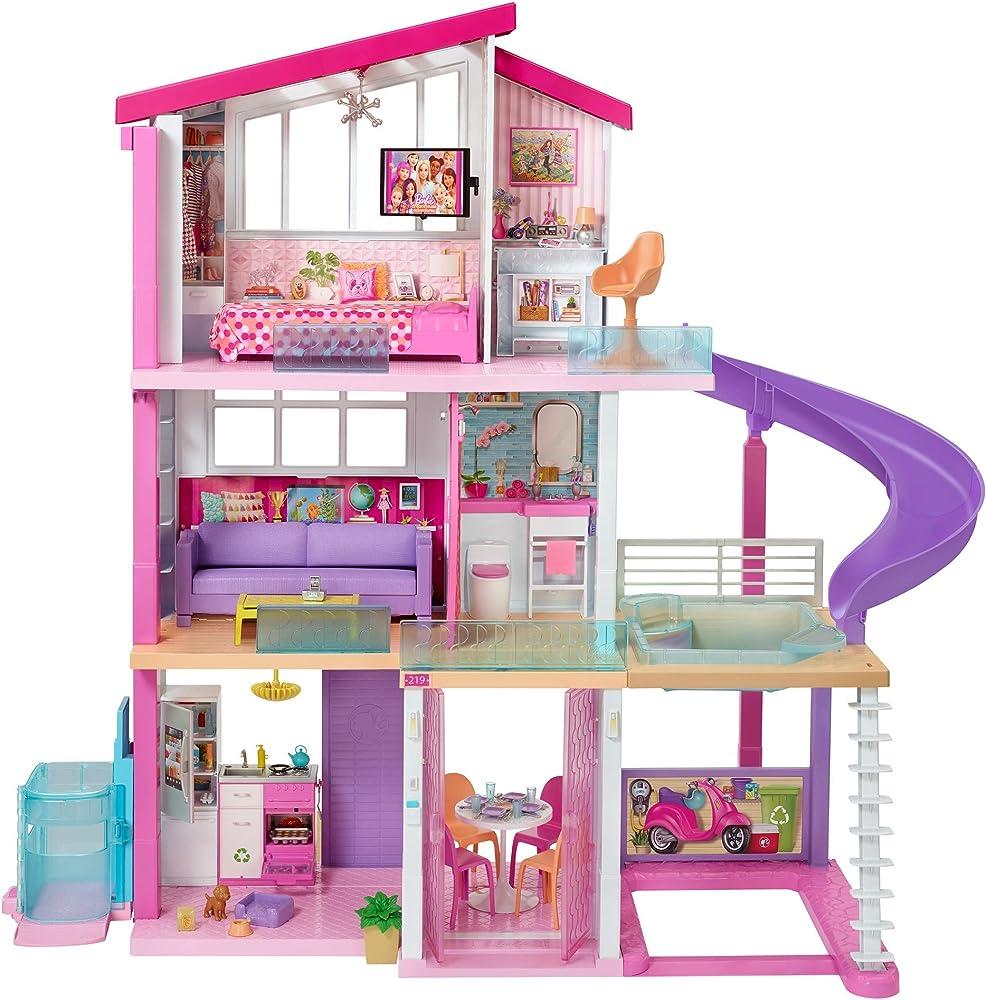 Barbie- casa dei sogni per bambole con ascensore per disabili, 3 piani, piscina, scivolo e 70 accessori GNH53