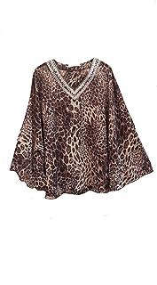Women/'s new Grey Leopard print Cold shoulder loose fit kaftan top Free size