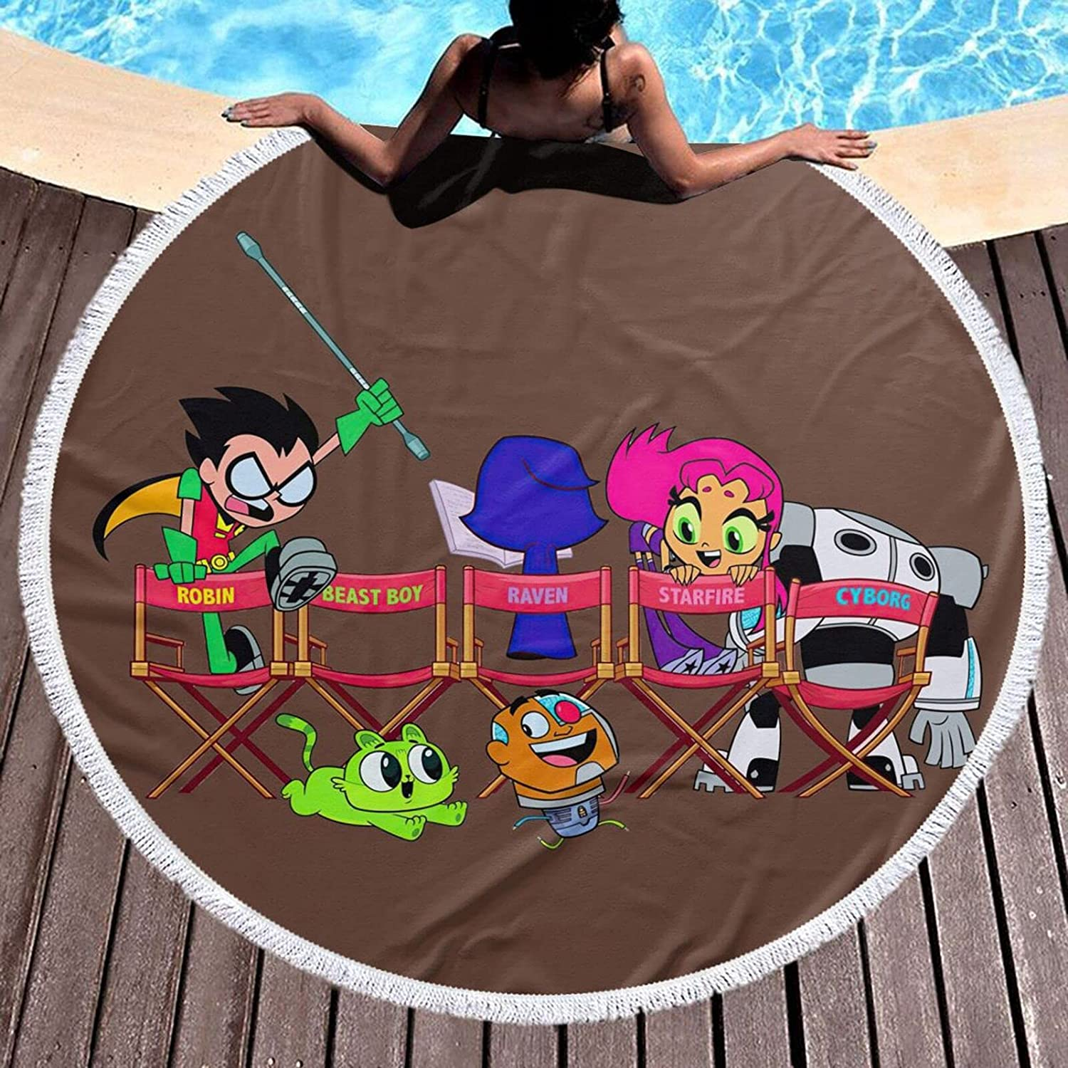 Te-en Titans G-o Anime Round outlet Towel Microfiber Free shipping anywhere in the nation Beach Lightweight