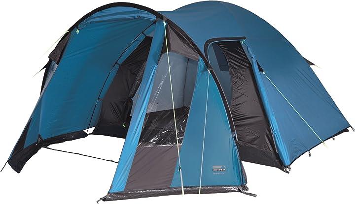 Tenda da campeggio high peak tessin 4, tenda unisex – adulto, blu/marrone scuro, 240 x 360 x 170/165 cm 10092